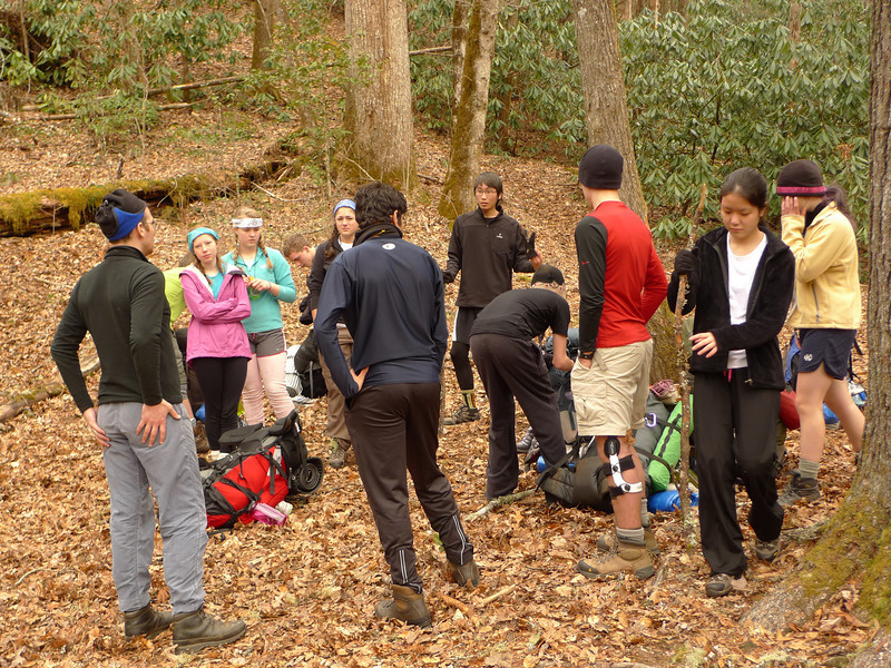 Tom gives some final instructions for the day's hike as the group prepares to climb up the Naked Ground trail.
