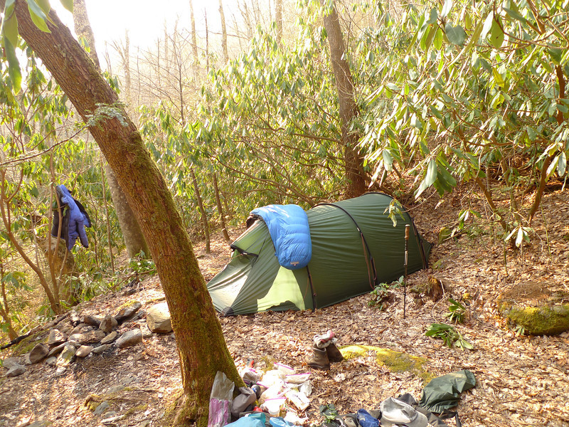 My camp for the night is at Blue Rock Camp which is a rarely used camp on the upper reaches of the North Fork trail.