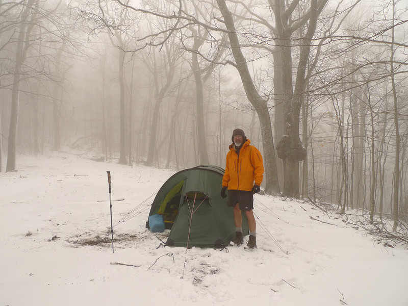 On the first day I only pump nylon three miles due to the weight and the crappy conditions and so I set up at old familiar Cold Gap below Gorak Hill and next to the South Fork Citico trailhead.