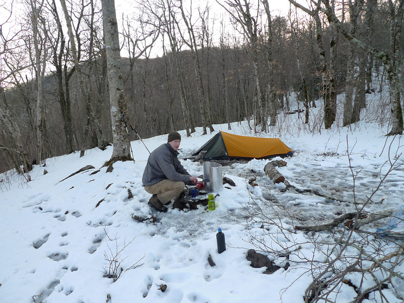 Chris Phillips from Chattanooga shows up and decides to camp with me at Naked Ground and gets his Eureka tent set and starts dinner.