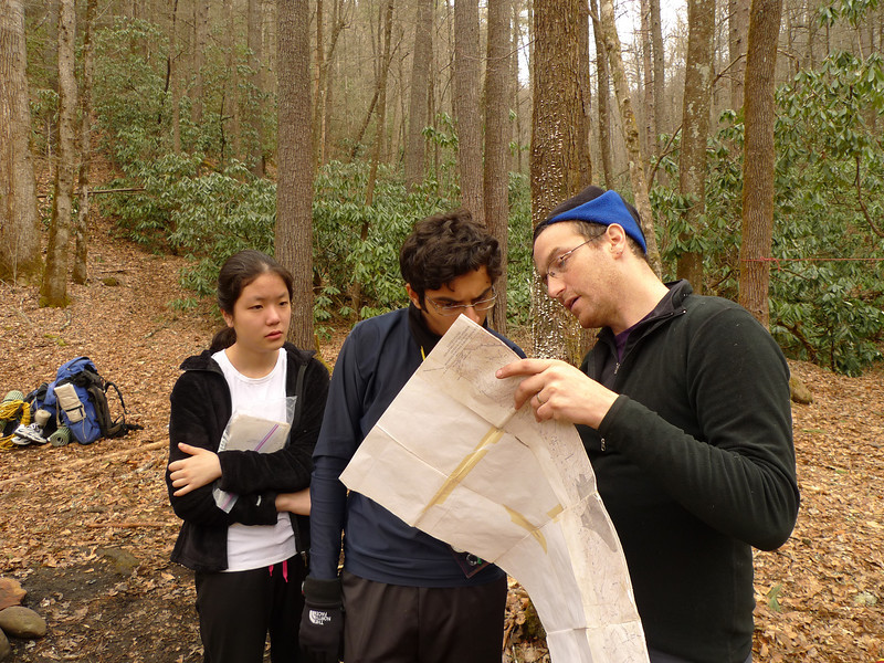 Here is trip leader Tom going over the map.
