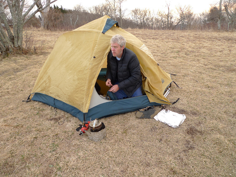 Mark gets up and greets the day with his MSR stove.