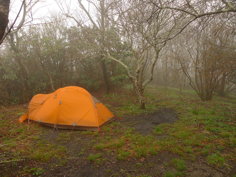 On the morning of Day 11 I survey a wet rainy camp on the Hangover. My plan is to slowly pack up and head over to the high gap at Naked Ground.