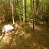 I set up the tent at Camp Two at the second crossing of the North Fork trail.