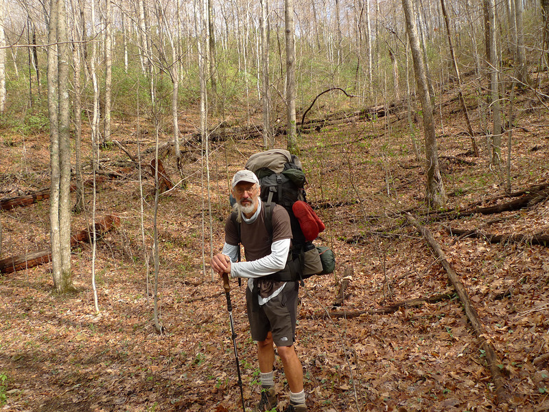 On Day 5 I leave Tony Camp and climb over Sugar Mt.  The BMT climbs up and over and here I am by the trailpost at the new cut switchback.