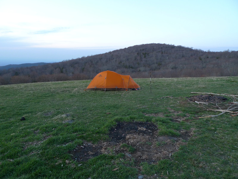 I like this shot showing the tent and behind it Little Haw Mt, the brother to Haw Mt.