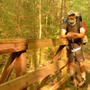 On Day 14 I head down the North Fork trail and pass over a high footbridge on a long day of climbing.