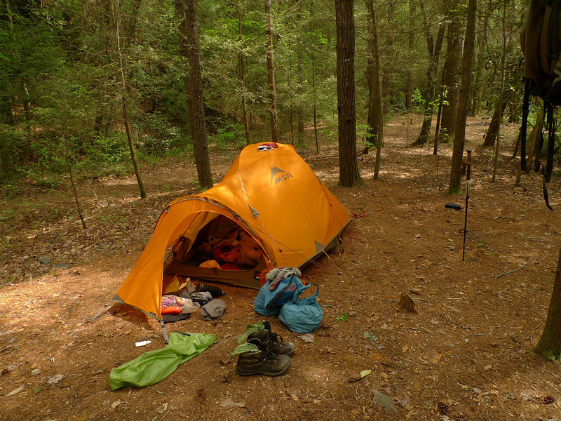 The morning of Day 16 finds me packing up the gear at the Black Cave Camps and moving upstream on Bald River to a more protected spot to prepare for the terrible storms about to arrive.