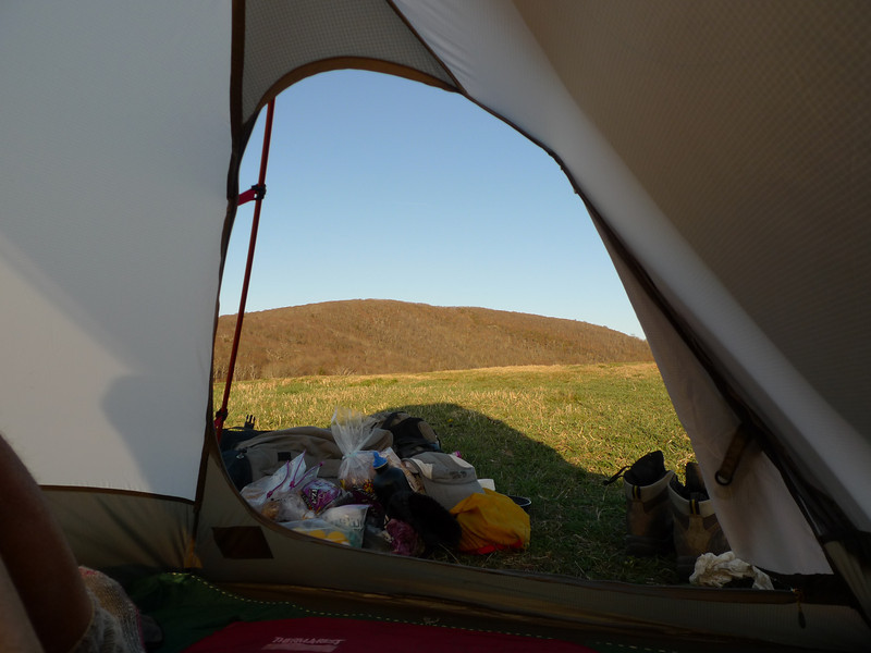 Looking out the tent door towards the mighty Haw.