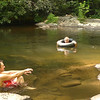 Blade and Mitten's Dad Arrants cool off in the mighty Tellico.