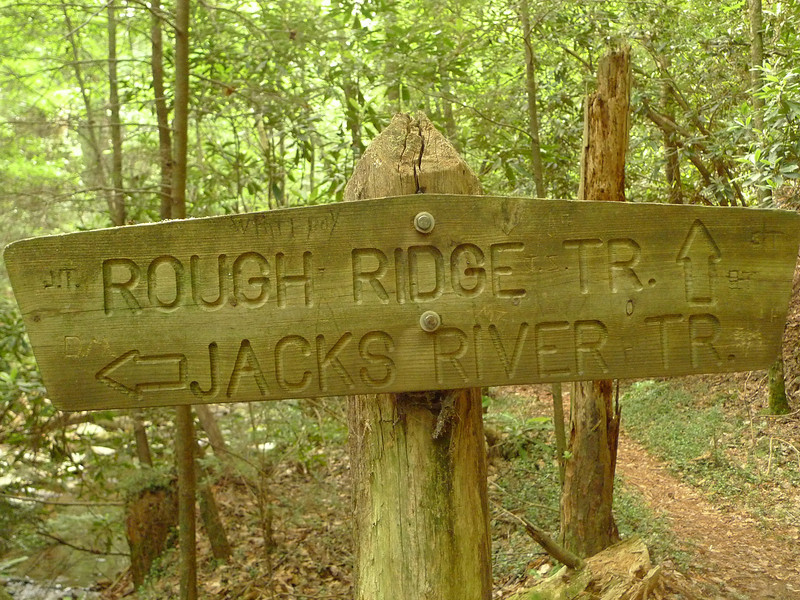 On Day 4 I pack up the kit and start hiking downstream on the Jacks and pass this jct with the Rough Ridge trail.