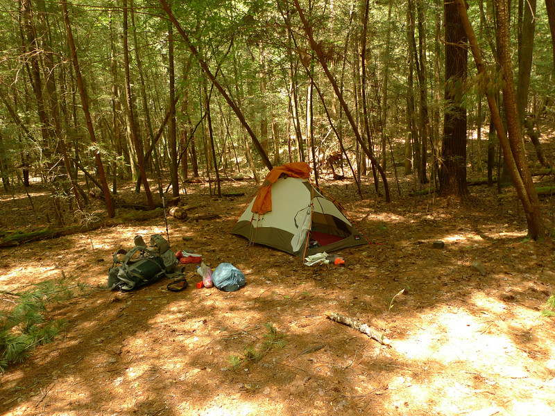 JACKS RIVER!  I finally make it.  The Jacks River trail has 42 crossings and most of them are slick with silt-covered rocks so I call it Greasy Creek.  Here's my camp by the Penitentiary jct.