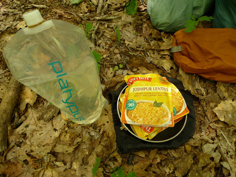 Water and some Tasty Bite meals---all a person needs.  The new platypus bottle works great and holds around 85 ozs.