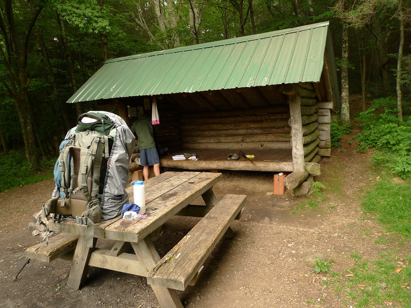 I make it up to Old Orchard shelter and take a picture of a guy named Scrubs preparing to shove off.  He's doing in one day what it took me four to hike.