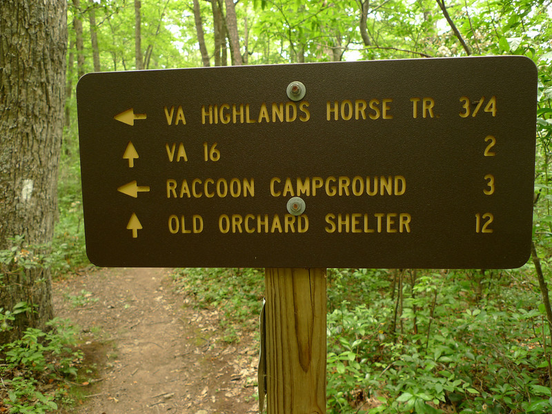 Yet another trailsign.  The old Raccoon shelter is history but I camp above it.
