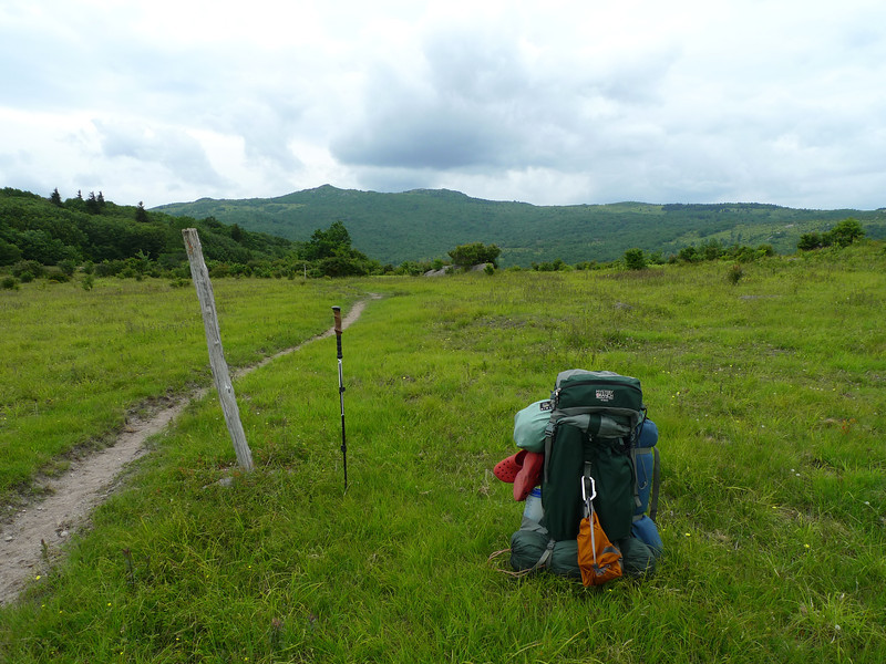 Here's the Bearpen trail on Stone Mt and I find a good campsite right before those clouds in the distance turn blue-black and nasty.