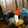 On Day 3 my gear makes a big pile and shows a couple internet books along with my fuel and food bags.