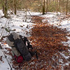 All that is left is a tent footprint in the snow and I'm ready for the day's climb of 2,000 feet.