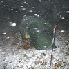 Another shot of the tent in the new snow of October.