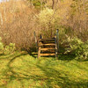 Here the AT enters a typical pretty cow pasture as the trail climbs over this fence stile.