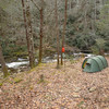 Yet another shot of Log Gate Camp next to Citico Creek with the two hung food bags.