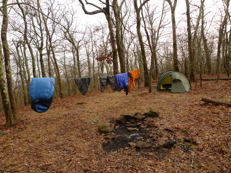 Saturday afternoon gets a short break in the rain so I hang out all my gear on the bear line and savor the lull.