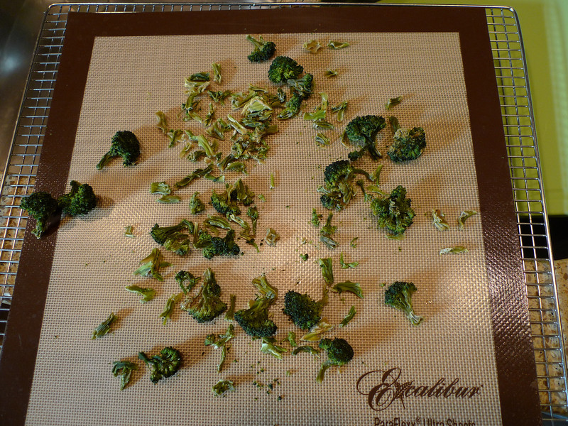 Frozen organic broccoli thawed and dried.