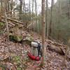I stop on the trail above Thunder Rock and retrieve my emergency thermarest cache.