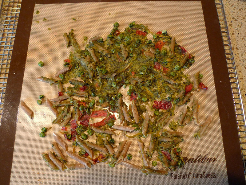 The finished pasta meal dried using the TSM 5 tray dehydrator.