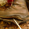 Alas, ye olde crappy Asolo 520 boots.<br /> <br /> JOURNAL<br /> <br /> DAY SEVENTEEN   TRIP 142<br /> <br /> TRAIL: West Fork/Poplar Cove<br /> CAMP Bike Grave Camp<br /> <br /> ANOTHER COLD NIGHT<br />     It's 1 in the morning and cold here next to Rough Creek<br /> <br /> 7:30 TEA<br />     It's tea time again in West Fork Camp. One more night and I'm out of here, the only question is do I pack and get closer to my evac site in case of rain tonight and into tomorrow.<br /> <br /> BIKE GRAVE CAMP<br />     I left West Fork Camp and hked over FS 221 and went down the trail past several landmarks and reached the point where the trail stops descending and starts climbing next to a creek by the brick gravesite cross but well before the cross I find a level campsite next to the creek which required some work to clear of vines and rocks but camp is arranged and it looks to be an excellent spot even though it's next to a foot trail shared with bicycles. Let's hope I'm far enough off the path to not get hit.<br /> <br /> AFTERNOON CRAP OUT<br />     Of course there's nothing better than laying down on the exped and taking an afternoon nap. I'm up again at 3:30 by the buzzing of 2 chainsaws nearby clearing some of the bicycle trails below the BMT. I've eaten all my dehydrated meals so I'm left with oatmeal which is excellent anyway so I'm not worried as it makes a great dinner with enough butter and maybe a hunk of goat cheese. The called-for rain today ain't here yet but I'm sure it will come by nightfall and into tomorrow.<br /> <br /> THE JOY OF A GOOD CAMP<br />     You always know when you're at a good camp when you quietly hike up and down the trail next to your camp for an hour just to stretch the legs and let dinner digest. Day 17 comes to an end as the sun sets and the twilight of the day becomes night. It's my last night of the trip and I still wait for the big rain that was supposed to come today but has not so where is it? Not a single backpacker or bicyclist 