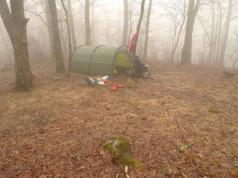 I make it to Camp 4 on Big Frog Mt and set up in the usual conditions---a cold fog.