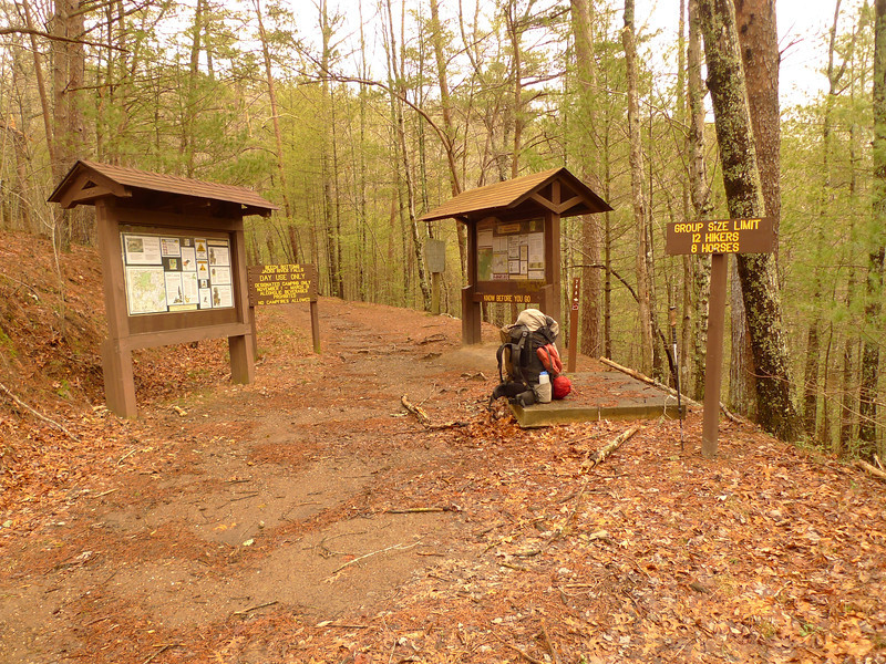 The Beech Bottom trailhead so go ahead and take a break.<br /> <br /> JOURNAL <br /> <br /> DAY ELEVEN   TRIP 142<br /> <br /> TRAIL Beech Bottoms/FS 62/Chestnut Mt<br /> CAMP Nut Jct<br /> <br /> MIDNIGHT GUYOUT AND CODDLED TOILETS<br />     I go out at midnight to guy out the tent as there are some gusts needing attendance as we wait for the impending rain not yet arrived. I put a little vitamin E oil on my cheeks and nose---raw and red---and then settle in for the night with a couple gulps of cold mountain spring water. I imagine laymen have the hardest time with these 2 things---taking dumps in the woods and drinking creek water. Both are things Americans take for granted in homes and have to work at outdoors. Each takes conscious thought and some amount of prep. Winter backpacking also has many negatory facets for the average coddled American as there's no flip of the thermostat or toilet for comfort. It's always a battle with the cold which sounds monumental but it's not, it's more nitpickingly routine though constant and sapping of your mental focus and dad-blam it, it just gets old.<br /> <br />     There's relief constantly with exertion or in bed so it's not all bad and winter's have been getting warmer year by year, at least here in the Southeast. Snow is always fun and pretty especially in a basecamp situation but moving thru snow can be the most difficult backpacking feat of all (see the movie Grey) and like with high water crossings you need a good map to find emergency bail out points to stay on schedule or get to your evac area. Often this means a roadwalk and a hitch. Thankfully the Big Frog/Cohutta is surrounded by remote rarely used dirt roads but a big blizzard can shut down a trip with zero days in a tent.<br /> <br /> THE RAIN STARTS AT 1 A.M.<br />     It just comes on like a light switch and causes the once tight tent to loosen and get slack but it won't stop for me to go out and tighten. It's a pleasant rain in the moderate to heavy category and not a deluge pounding which can keep a person up all night looking for lake effect or leaks so let's go back to sleep, boys.<br /> <br /> MORNING WAKE UP<br />     I get a pot of Beech Creek water after burning the rest of my paper reading material and then cooking up a pot of 3 bag tea while eyeballing a sketchy sky for more rain. I want to move out of the Bottoms today and finish the trail to FS 62---Big Frog road---which in less than 2 miles will take me to Chestnut Mt trail and possibly a water source off the north side of the road which looks to be a blue line on my topo map. I have used these blue lines often on my treks to get needed water at otherwise dry locations (Panther Top comes to mind) and so this way I won't have to hump full water off the Bottoms trail which has spring sources along its way almost to the top trailhead at the road.<br /> <br />     Anyway, I'll figure this out by and by as the day unfolds. The Knox wee'tards say it'll be 18F tonight so count on another butt cold camp at Nut Jct if I can make it. The last time I did the 62 roadwalk I saw a fox and a lizard skink and a big turkey feather so maybe this time I'll see a bear or a mountain lion or a burmese python but hey Florida I won't try to kill it. Live and let live. I have a feeling the Georgia backpackers will be spending just one night out here and will be passing by in the next 4 hours if I decide to sit put here and do a zero day, a possibility if it rains.<br /> <br /> YUP THE BACKPACKERS PASS BY<br />     A one night stand---slept with Miss Nature and got the hell out.<br /> <br /> A THREE LEG JOURNEY FOR A 7.7 MILE DAY<br />     Okay boys, I packed under a rainy sky and by noon there were patches of blue but by then I was finished with the 4 mile Beech Bottom trail and hooked right on FS 62 which got me to the Chestnut Mt trail and along the way I dumped the pack for an off-road down the holler water run which will keep me alive at Nut Jct. On my map there's a blue spring marked a quarter mile past the trailhead and I need to check it out but I've got plenty of water here and now and so there's no need for more walking. Chestnut Mt has been renamed Hemp Top but it's a stupid move cuz we're no where near Hemp Top Mt or the real Hemp Top trail in the Cohutta.<br /> <br />     In fact when you get to Nut Jct what do you see? A trail sign for Chestnut Mt and Wolf Ridge. Let's keep the old names please. At least I will and why break Wolf Ridge trail into 2 parts? It's Wolf Ridge trail from Pace Gap to Frog Mt in my book and I'm sticking with it. BTW, I'm on the route favored most by Frog Mt dayhikers just to let you know. It's a tough nut of 3.7 miles and an elevation gain of a couple thousand feet. We've been thru this all before on my last trip. Lunch is a peanut butter larabar which is damn good and the same one which pulled my 2 crowns and bridge off at Dog Hat Camp on Nichols Cove trail in the mighty Slickrock. Afterwhich I had a molar pulled and one crown replaced. 80% of all eating therefore is on the right side which sucks.<br /> <br />     It's cold and I'm in shorts so let's keep moving.<br /> <br /> CHESTNUT MOUNTAIN WIND ABUSE<br />     I get a quick call out to Mitten at the trailhead and she's a little under the weather but we're happy to talk to each other and then said our goodbyes as I buckled up and hit the spine of Chestnut Mt which got me good in a crossfire of a butt cold wind. Now I'm behind a cut bank hill which blocks the wind to eat another larabar and a very good one called Uber roasted nut roll, the best. Nut Jct will be very windy and very cold and I'll have to pull my rodeo 8 second calf roping to get the tent up fast and to get inside and layer in geese.<br /> <br /> NUT SWTICHBACK<br />     There's a major switchback on the Chestnut Mt trail and here's something neat---there's a campsite next to the switchback and here's the kicker---there's a water source spring down the washed out cliff next to the campsite but it may be intermittent and it's not easy to reach. This camp is small yet big enough but I went on and past the switchback the climb is tough and a little nutbuster but it squirts you out at Nut Jct Camp and hell it's my camp cuz I hauled 3 liters of water from the road. It's good to know the casual dayhikers coming to see Frog Mt must bust a true nut to get there; just getting here is tough enough.<br /> <br /> A NUT JCT WIND<br />     It's ice cold but I have to go out and lay pipe and dig a hole while being stripped naked figuratively by the cold wind. Task done, I retreat to the loving tent and give thanks to have a strong shelter from the cold. My stomach's in a knot for some reason so I'll either need to fart repeatedly or blow out another stool into another dug pit. I almost looked around for another place to dig a second prep pit but it was too cold and whatever pit is dug will have to wait for the actual dumpage. Nut Jct is a high exposed knife ridge camp at the very end of the Chestnut Mt trail. Here 2 trails continue, Wolf Ridge to the left and down to Grassy Gap jct and Wolf Ridge straight ahead and up up up to Curbow Fields and the Frog.<br /> <br /> 3.7 MILES<br />     It's only 1.8 miles from here to the Frog but it's a nutbuster and I did it on my last trip so the plan tomorrow is to drop to Grassy Gap and take it to the Big Creek jct and turn left to follow it to a campsite somewhere near Peter Camp Branch or beyond just so I can be by water and it's a trail never hiked. Afterwards I can either take Yellow Stand Lead up to Low Gap for Thursday night or backtrack up Big Creek to Grassy Gap and finish the last bit of Big Creek never done---to the top of the Frog as of course I'd like to spend the weekend on the mountain. First comes the weather reports as I have to be at Thunder Truck on Tuesday, Day 18.<br /> <br /> Tipi Walter