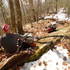 John and I decide to bail off the Bob in a windstorm and sit resting on Trail 54A South.