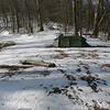 My first night's camp is in Cold Spring Gap and it's cold.