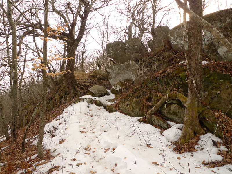 I leave the Bob and take Four Mile Ridge in the snow past some nice rocks.