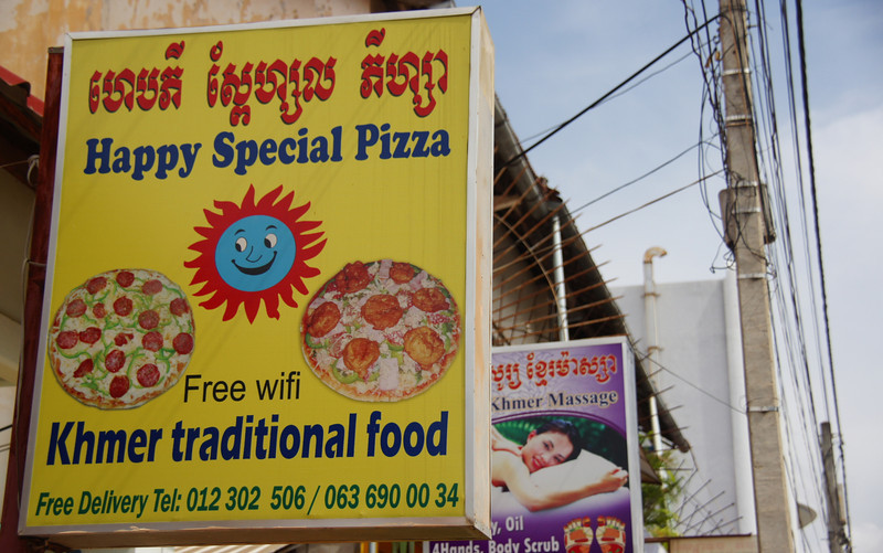 Happy Herb Pizza sign in Siem Reap, Cambodia
