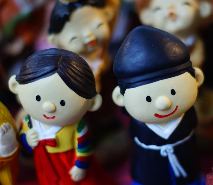 Numerous cute Korean figurines are on display at various shops along Insadong  - Seoul, South Korea.