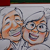 A caricature of a Korean couple drawn in a mall area of Insadong - Seoul, Korea.