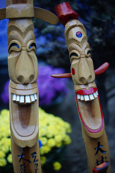 These Korean totem poles have enormous happy faces.  One can't help but feel 'happy' just looking at them :)