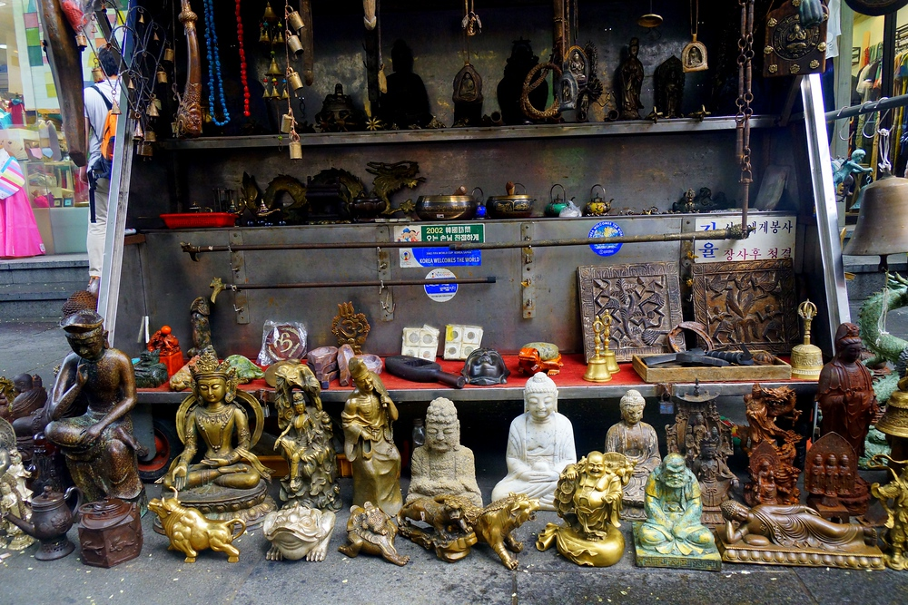 A number of Buddhist sculptures on display in Insadong - Seoul, Korea.
