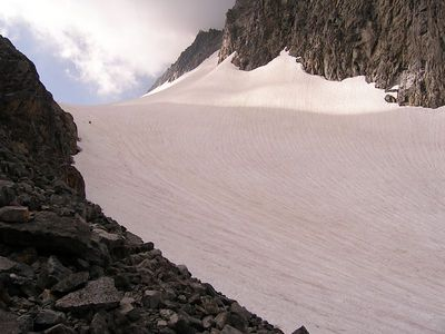 After traversing around above the lake, we came out onto the snowcovered glacier