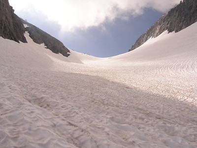 Looking up toward the Ritter/Banner saddle