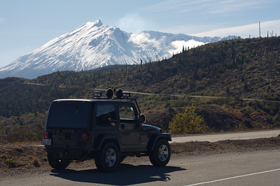 Rich's Jeep from one of the Spirit Lake overlooks near Mt St Helens