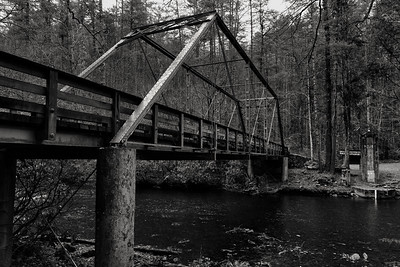 Old single lane bridge over Cataloochee Creek