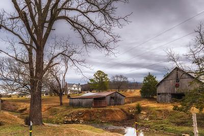 Old barns and homestead.