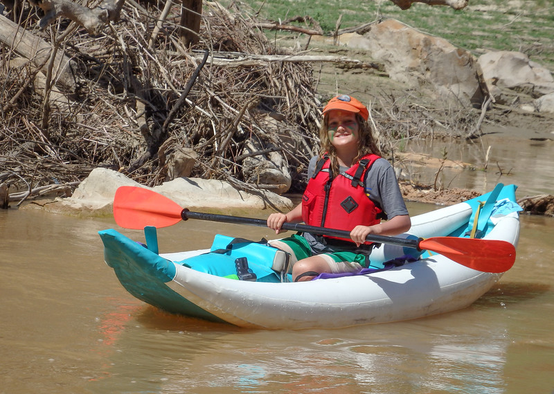 Milo in the Glitterati Inflatable Kayak