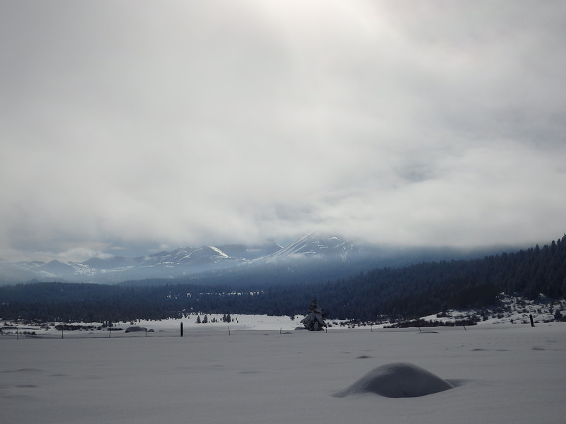Snow Covered Mountains and Cloud From Hope Valley Calfornia