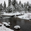 Winter Snow on Truckee River at Tahoe Paradise Park