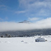 Snow Covered Peak and Fog From Hope Valley California