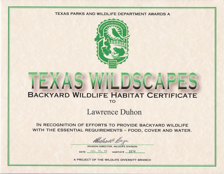 Texas Wildscape certificate
